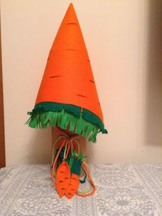 Carrot hat for The fall holiday in kindergarden