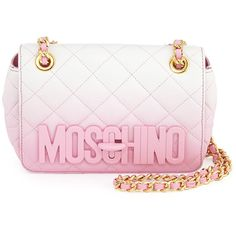 Moschino Ombre Quilted Medium Shoulder Bag ($1,390) ❤ liked on Polyvore featuring bags, handbags, shoulder bags, bolsas, purses, pink, quilted chain shoulder bag, pink shoulder handbags, handbags purses and quilted shoulder bag