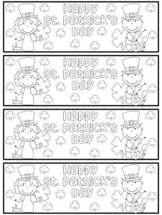 Color Your Own Bookmark.  Click for 10 More FREE St. Patricks' Day Bookmark Printables