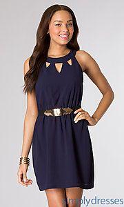 Buy Short Navy Sleeveless Dress at SimplyDresses