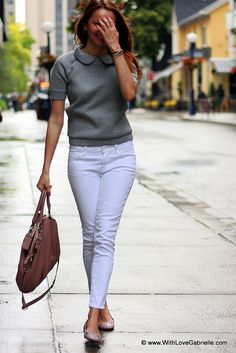 Marta Tryshak wearing H Grey Peter-Pen Collar Top, 7 For All Mankind Roxanne Jeans, Marc by Marc Jacobs Mouse Flats, Pandora Leather Charm Bracelet, Coach Madison Lindsey Satchel