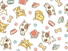 Dog And Cat Seamless Pattern by Toru Sanogawa