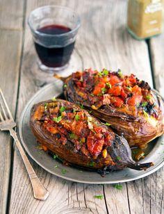 Imam Bayildi (Stuffed Eggplant) - eggplants, tomato, onion and garlic