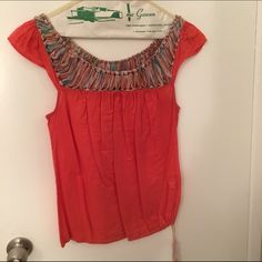 Lucky Brand top Crochet-type neckline, adjustable tie string bottom. Small or medium. ⭐️everything in my closet is cheaper on MERC. NO TRADES Lucky Brand Tops Blouses
