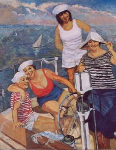 Lady Sailors on the Beach - Original and Giclee Prints