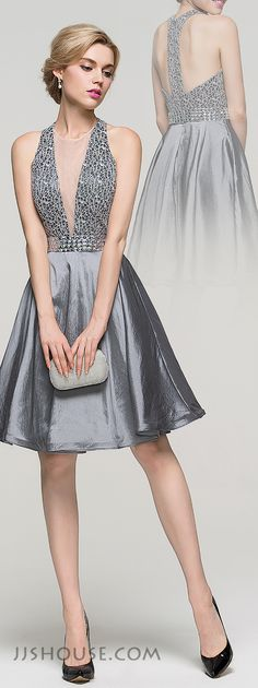 Super sexy and ultra-chic, you will not go unnoticed in this A-line knee-length Taffeta homecoming dress. #JJsHouse