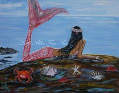 "Mermaid Art Print GICLEE Mermaids Girl Woman Wall Art Ocean Seascape Fantasy Art Children Room Decor  ""Mystic Mermaid"" Leslie Allen Fine Art"