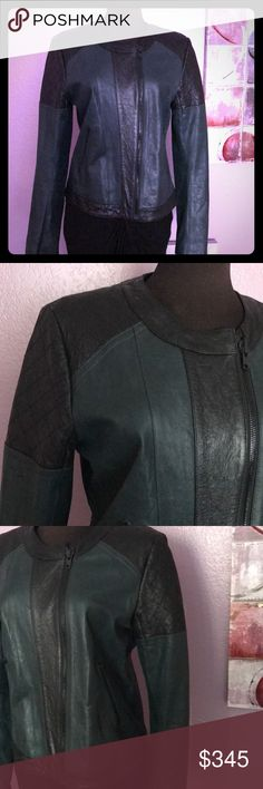 Sexy Theory Maison  Leather Green/Black Jacket💚🖤 Stunning Theory Luxurious Lamb  Leather Jacket! Super trendy perfect add to your beautiful wardrobe! In great shape. Sexy classy style! Perfect color combo! Love this beautiful Theory!♥️💚 Retail $1000 Theory Jackets & Coats