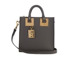 Sophie Hulme Albion Square leather tote (39.205 RUB) ❤ liked on Polyvore featuring bags, handbags, tote bags, dark grey, leather handbags, real leather tote, square tote bag, genuine leather tote and genuine leather purse
