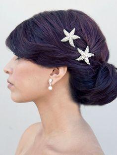 Rhinestone Starfish Hair Clip ~ Sea Star - Hair Comes the Bride Bridal Hair Accessories & Headpieces, Wedding Jewelry, Hair & Makeup