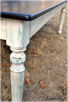Sophia's: 8ft Farm Table -dark walnut stain on top; ASCP duck egg blue, ASCP Pure White, then sanded down. Both clear and dark waxes.