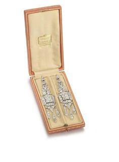 A pair of Art Deco diamond pendent earrings, by Cartier, circa 1925