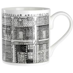 Bone china mug covered with lovely line drawings of many of the local styles of building from all over Britain.