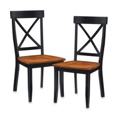 Home Styles Dining Chair in Black with Oak Finish (Set of 2) - BedBathandBeyond.com