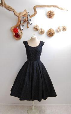 1950s Black Swing Cocktail Dress