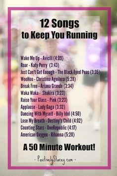 12 Songs to Keep You Running - Perfect for a 50 minute workout! - 12 Songs to Keep You Running – Perfect for a 50 minute workout! 12 Songs to Keep You Running – Perfect for a 50 minute workout! Music Mood, Mood Songs, Positive Songs, Running Music, Songs For Running, Running Humor, Running Tips, Running Playlists, Running Plan