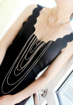 Gold Multilayer Chain Tassel Necklace
