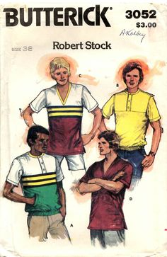 Men's Shirt PATTERN Butterick 3052 size 38 Loose fitting with or without contrast V neckline front yoke welt pockets elastic hemline by BlondiesSpot2 on Etsy