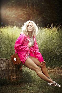 Fearne Cotton Grazia shoot - wearing the Fluro Pink Holbrook Windcheater