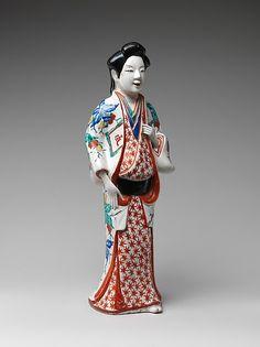 色絵婦人立像 Figure of a Standing Beauty  Period:Edo period (1615–1868) Date:ca. 1670–90 Culture:Japan