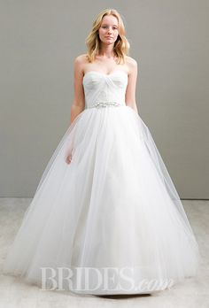A classic strapless @jimhjelm ball gown wedding dress | Brides.com