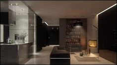 Dark-Brown-Gray-Living-Room-with-Chunky-Open-Shelving-by-Pressenter-Design