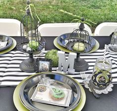 Place setting at a Nightmare Before Christmas baby shower party! See more party planning ideas at CatchMyParty.com!