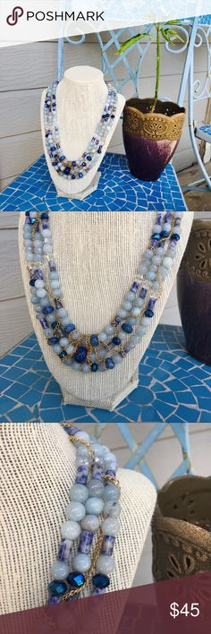 Handmade gemstone and chain necklace 💙💙💙 This was handmade by me - features a plethora of blue gemstones with gold chain weaved between the three strands of the stones.  Also has crystal!   Is adjustable gabriella designs Jewelry Necklaces