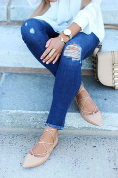 Ripped Jeans + Nude Lace Up Flats