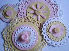 Handmade Scrapbooking Embellishments  Set of 4 by ScrappyNan, $4.50
