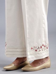 Ivory Embroidered Cotton Satin Palazzos with Zari Work Salwar Suit Neck Designs, Neck Designs For Suits, Kurta Designs Women, Dress Neck Designs, Salwar Designs, Blouse Designs, Embroidery Suits Punjabi, Embroidery Suits Design, Embroidery Fashion