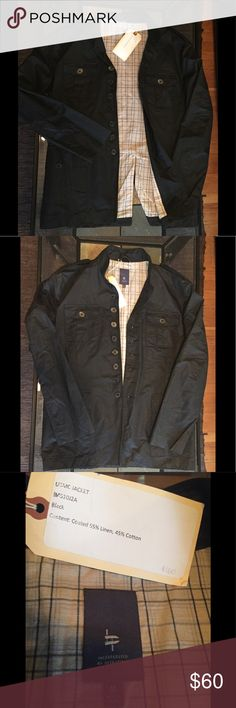"""NWT Jacket Black Linen Military Style Medium New with tags. Linen black military style jacket. Size Medium. This is a true pre-production jacket, made by a small company called """"Incorporated By Operations"""".  The interior tag is even hand written. I purchased this at a small boutique shop in NYC for $160. The exterior is solid black and made of linen. The interior is soft cotton. Very light, thin, breathable and stylish jacket.  Has metal buttons. Very sharp and unique. Brand new condition…"""