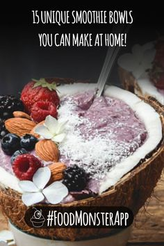 15 Unique Smoothie Bowls You Can Make at Home Vegetable Smoothie Recipes, Vegan Smoothie Recipes, Vegan Breakfast Recipes, Healthy Smoothies, Healthy Recipes, Vegan Granola, Quick And Easy Breakfast, Breakfast Smoothies, Smoothie Bowl