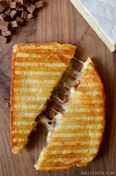 Chocolate and Brie Panini recipe from justataste.com #recipe #chocolate #cheese