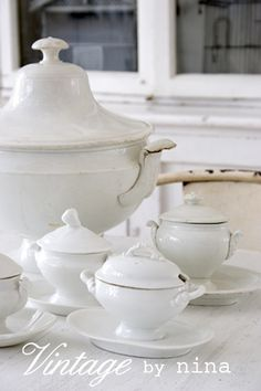 shabby, white, tureens