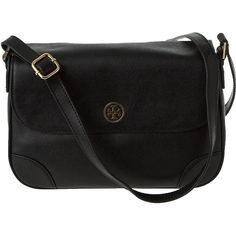 HANDBAGS Tory Burch Robinson Cross-Body Bag Black Leather ($475) ❤ liked on Polyvore
