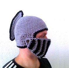Knight Helmet Hat With Movable Visor ,Crochet Grey Convertible Beanie Mask Winter Snowboard Ski Hat unise by ateszter, $36; because sometimes you don't just want a helmet hat, you want a purple/black helmet hat.