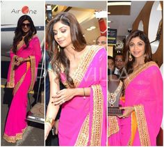 Shilpa Shetty in Preeti S Kapoor  Shilpa Shetty was in Bareilly today to launch a new store for PC Jewellers. Keeping it simple, the actress looked lovely in a bright pink and gold Preeti S Kapoor saree. Simple hair and statement earrings rounded her look off.