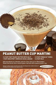 Peanut Butter Cup Martini: part peanut butter with salt, 1 part DeKuyper® Creme de Cocoa Liqueur, part Pinnacle® Vodka, part Milk. Fancy Drinks, Cocktail Drinks, Yummy Drinks, Alcoholic Drinks, Cosmo Cocktail, Vodka Cocktails, Alcohol Drink Recipes, Martini Recipes, Milk Shakes