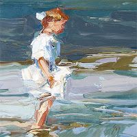 "Palette Knife Painters: ""Wading at the Shore"" after Edward Henry Potthast"