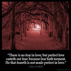 KJV 1 John There is no fear in love; but perfect love casteth out fear: because fear hath torment. He that feareth is not made perfect in love. Bible Verses Kjv, King James Bible Verses, Bible Quotes, Insirational Quotes, Bible John, Scripture Cards, Prayer Scriptures, Wisdom Quotes, Images Bible