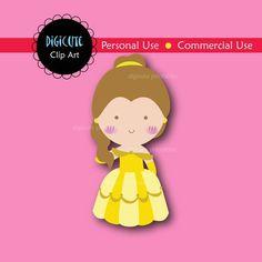 Disney Princess Belle Digital CLIP ART personal and by Digicute, $2.50