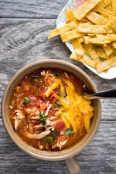 This recipe for chicken enchilada chili is a warm and cozy meal for colder weather or rainy days.
