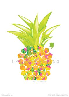 Tropical Pineapple Print (Multi Coloured) on Etsy, $9.99 AUD