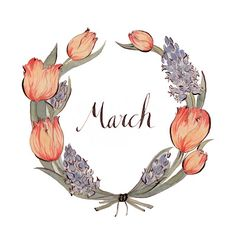 'March' wreath illustration by Kelsey Garrity-Riley Freetime Activities, Wallpaper Gratis, 8th Of March, Happy March, Hello March, March Month, Bullet Journal Inspiration, Botanical Illustration, Artsy