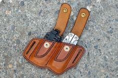 This sheath is designed to carry your Leatherman Wave or Charge with the extra bit sets. The design is a progression of my standard belt sheath