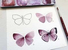 by 🦋💓 more lessons - ⠀⠀⠀⠀⠀⠀ 🖌️ наш хэштег/our hashtag Easy Flower Drawings, Butterfly Drawing, Butterfly Watercolor, Pencil Art Drawings, Easy Drawings, Butterfly Painting Easy, Simple Butterfly, Watercolor Trees, Watercolor Landscape