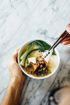Miso Noodle Soup with Tofu, Chanterelles Mushrooms, Bok Choy & Green Onions Soup Recipes, Vegetarian Recipes, Healthy Recipes, Noodle Recipes, Miso Noodle Soup, Miso Soup, Tasty, Yummy Food, Soup And Salad
