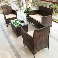 BTM rattan garden furniture sets patio furniture set garden furniture clearance sale furniture rattan garden furniture set table chairs sofa patio conservatory wicker new (Brown)