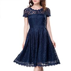 High Quality Vintage Tunic Lace Female Robe Casual 1950s Rockabilly Short Cap Sleeve V-Back Swing Summer A-Line Dresses - NAVY BLUE L